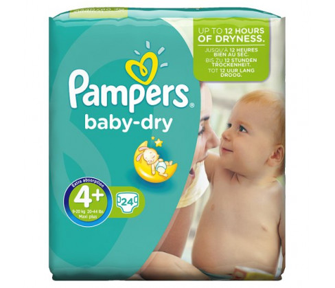 Pampers Baby Dry Carry Pack Unisex Size 4+ (Maxi Plus)